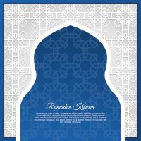Blue arabic window background design Vector | Free Download