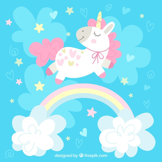 Cute Birthday Wallpaper Blue Background With Pretty Unicorn And Rainbow With