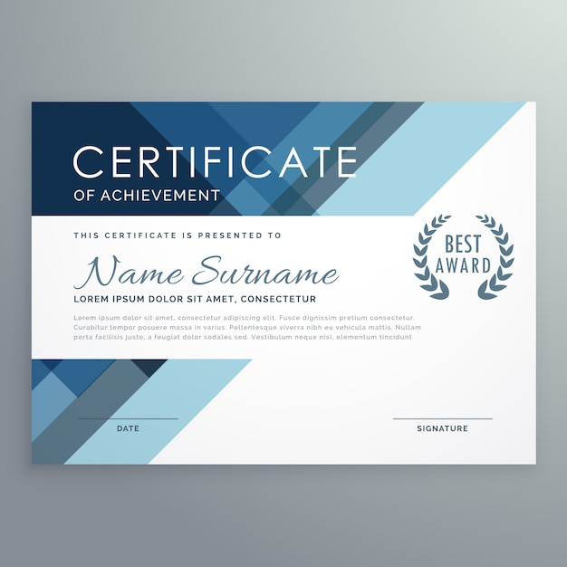 Blue certificate design in professional style Vector Free Download