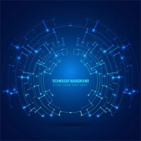 Blue circular technological background Vector | Free Download