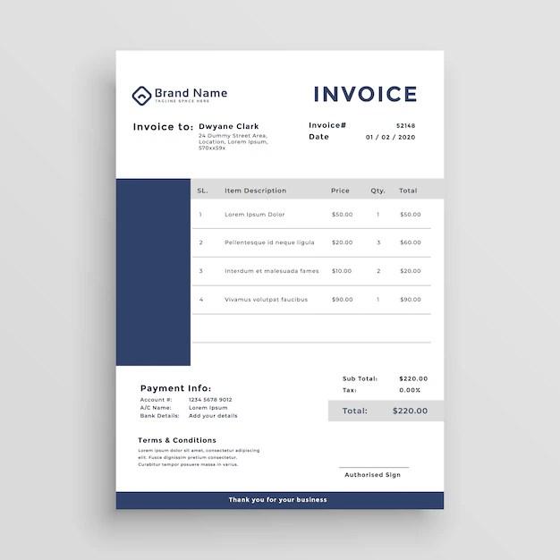 Blue customer invoice template design Vector Free Download