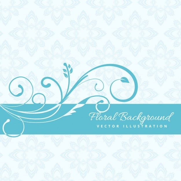 Blue floral background Vector Free Download