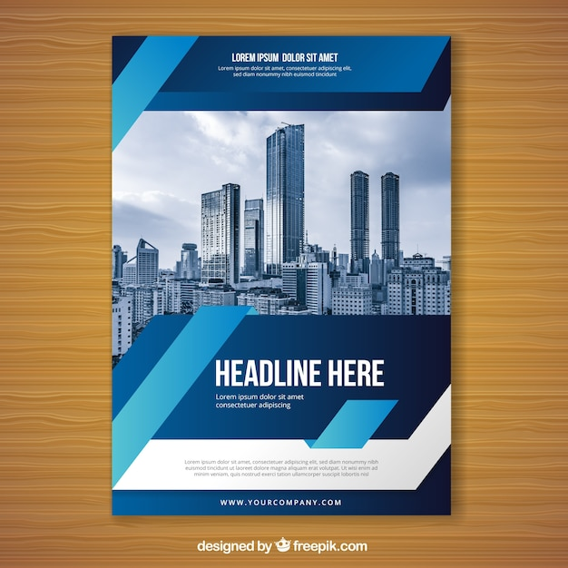 Blue flyer design template Vector Free Download