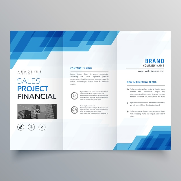Blue geometric trifold business brochure design template Vector