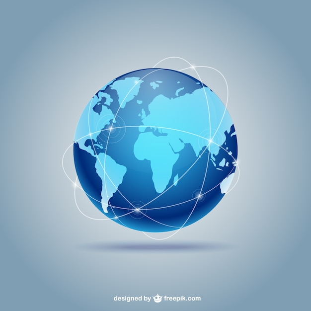 Blue globe Vector Free Download