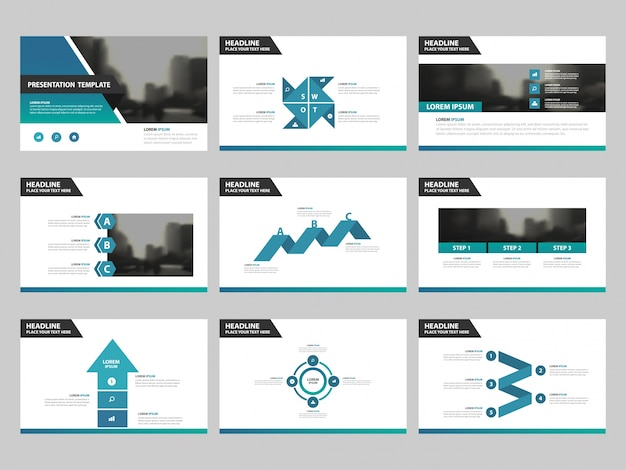 Blue green abstract presentation templates, infographic elements