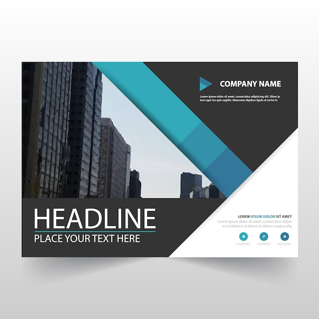 Blue horizontal business flyer template Vector Free Download - free design flyer templates
