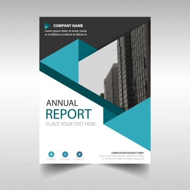Blue polygonal annual report cover template Vector Free Download - free annual report templates