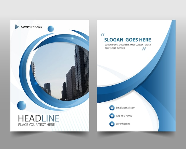 Blue round modern annual report template Vector Free Download - free report templates