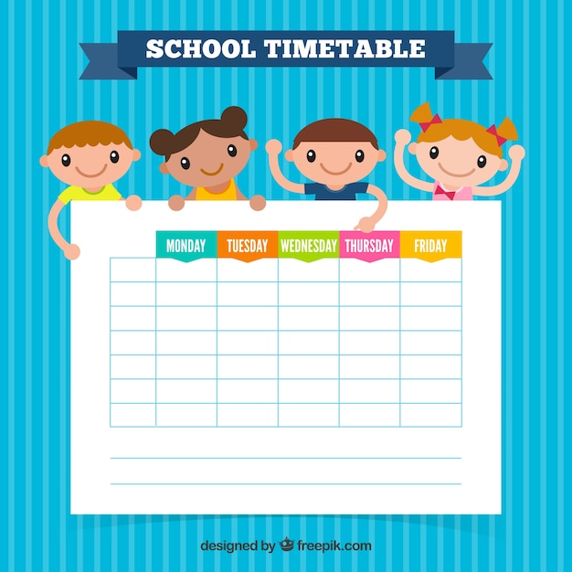 Blue school timetable template Vector Free Download
