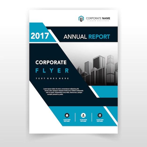 Blue shape flyer cover design Vector Free Download