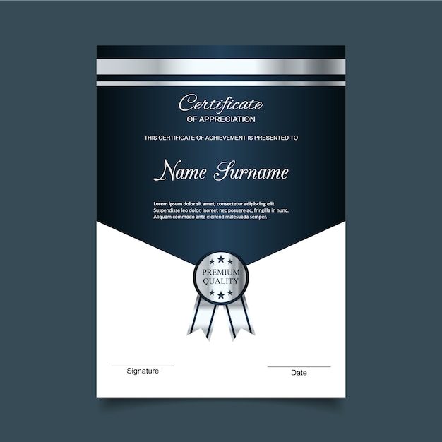 Blue and silver certificate of appreciation template Vector Free