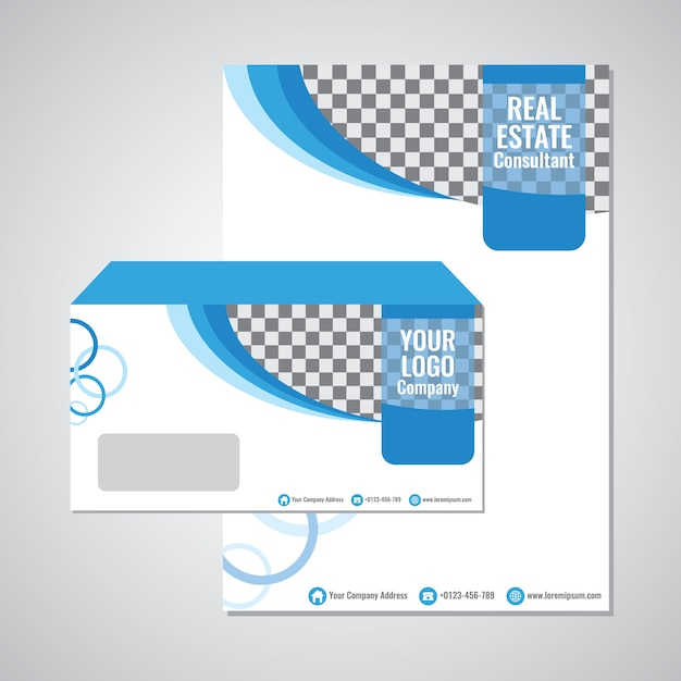 Blue wave envelope template vector design Vector Premium Download