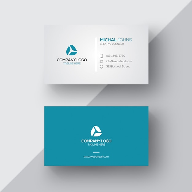 Blue and white business card Vector Free Download