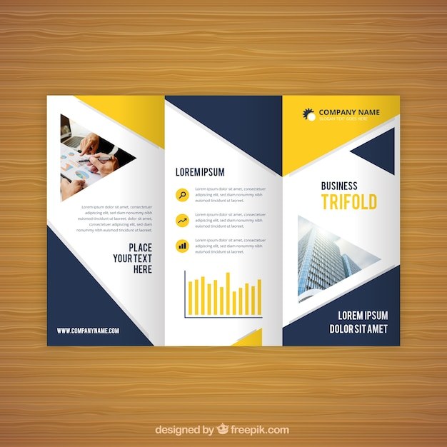 Blue and yellow trifold business flyer Vector Free Download