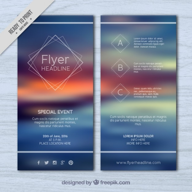 Blur landscape flyer Vector Free Download