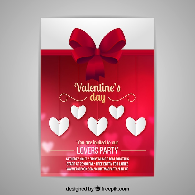 Blurred valentine\u0027s day flyer/poster template Vector Free Download