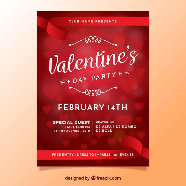 Blurred valentine\u0027s day flyer / poster with hearts Vector Free