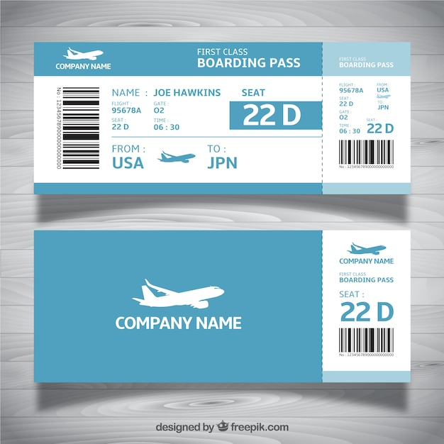 Boarding pass template in blue tones Vector Free Download