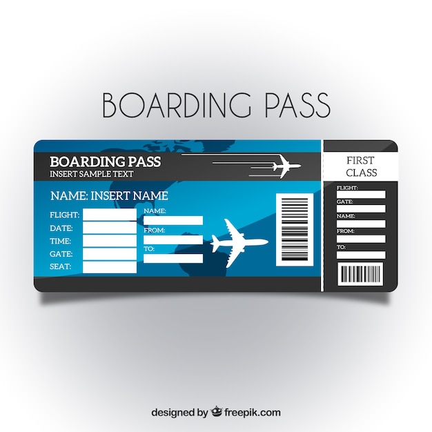 Boarding pass template with blue background Vector Free Download - boarding pass template