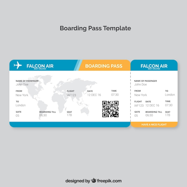 Boarding pass template with map and color details Vector Free Download - boarding pass template