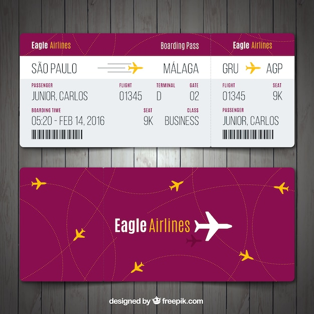 Boarding pass template with yellow details Vector Free Download - boarding pass template