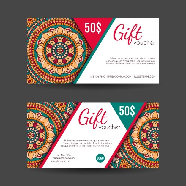 Boho style gift vouchers designs Vector Free Download