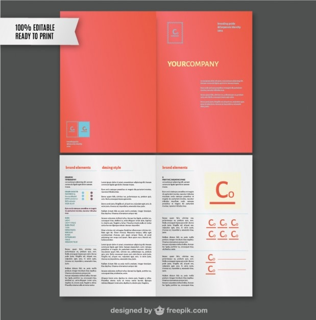 Brand style guide template Vector Free Download