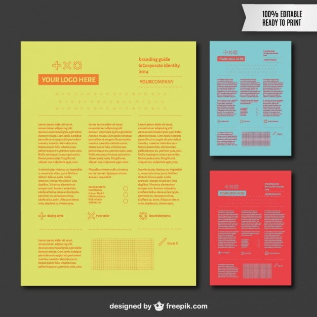 Branding guide in different colors Vector Free Download