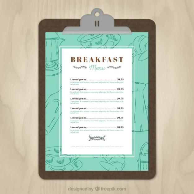 Breakfast menu template Vector Free Download