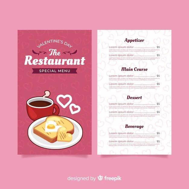 Breakfast valentine menu template Vector Free Download