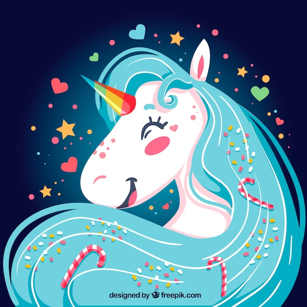 Cute Horse Wallpapers Bright Happy Unicorn Background Vector Free Download