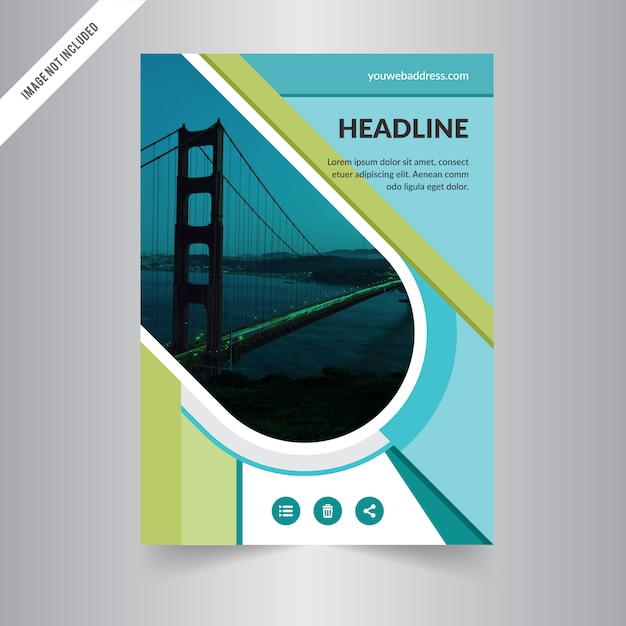 Brochure design template vector Green abstract square cover book