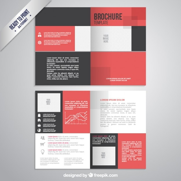 Brochure template in black and red color Vector Free Download - black flyer template