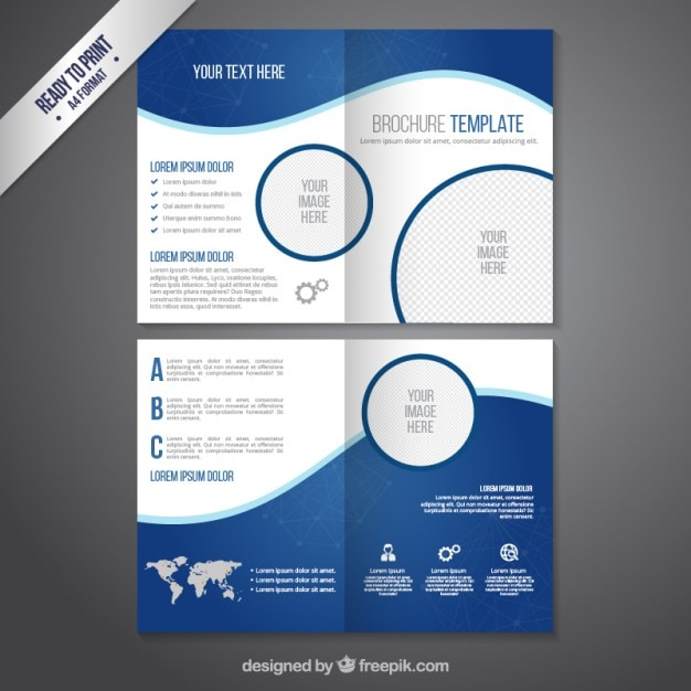 Brochure template in blue tones Vector Free Download - free design flyer templates