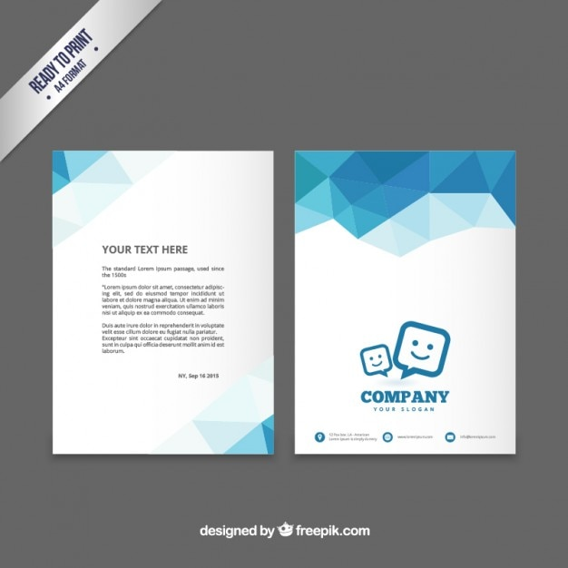 Brochure template with blue polygons Vector Premium Download