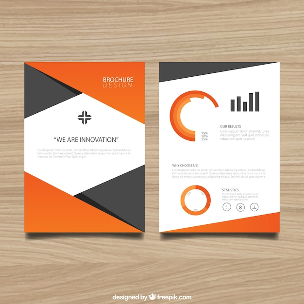 Brochure template with orange elements Vector Free Download - phamplet template