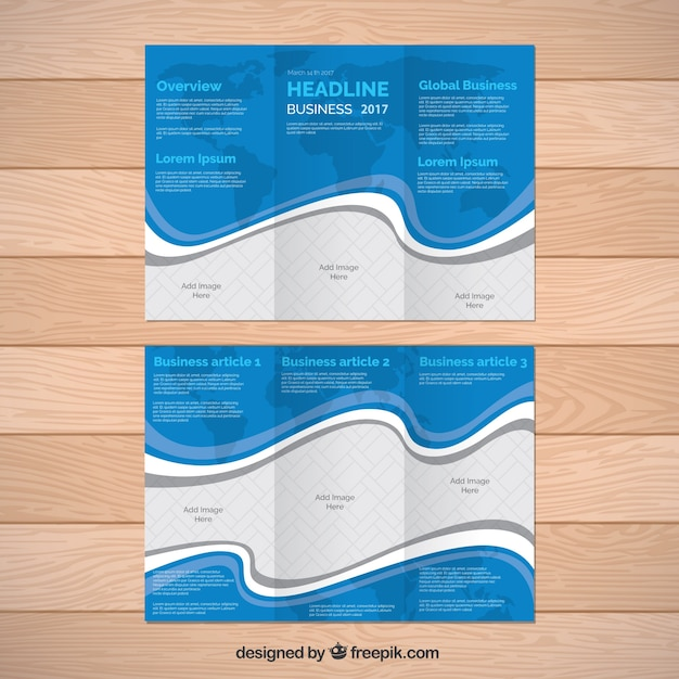 Brochure template with world map and decorative wavy lines Vector