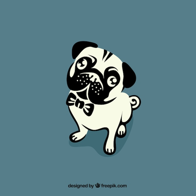 Cute Pug Wallpaper Cartoon Bulldog Outline Vector Free Download