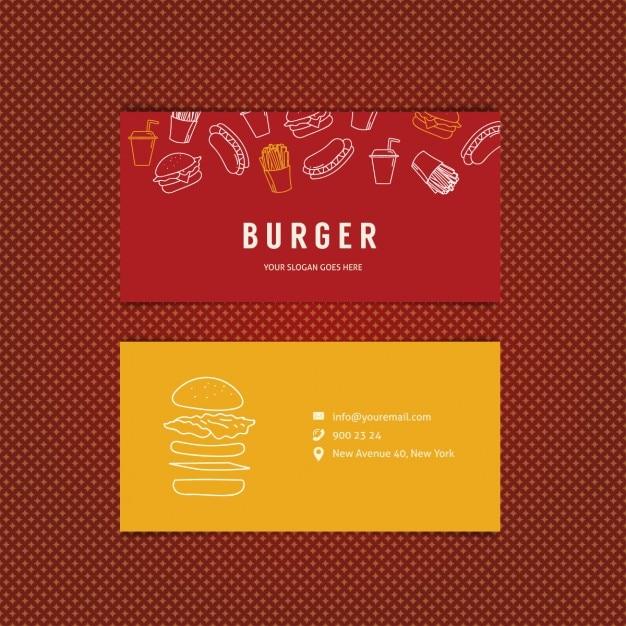 Burger restaurant business card Vector Free Download