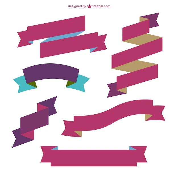 Burgundy ribbons Vector Free Download