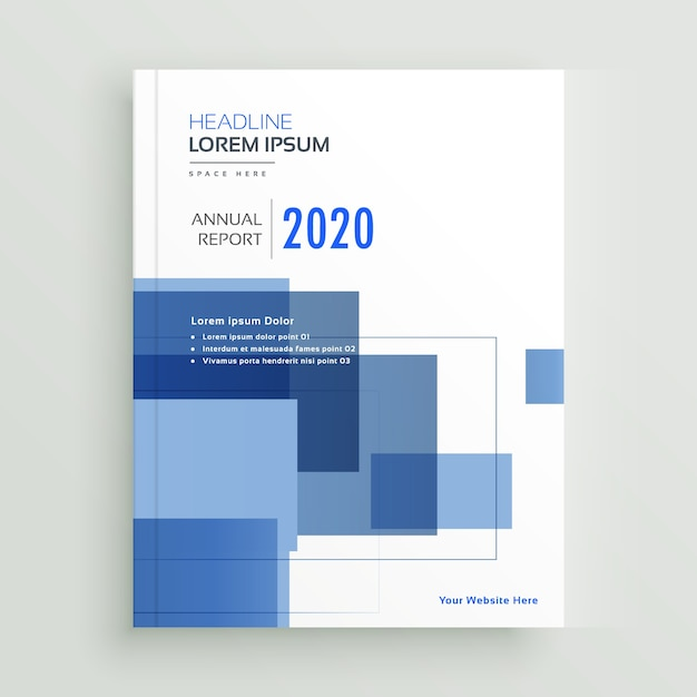 Business annual report brochure template design with blue geometric - annual report template design