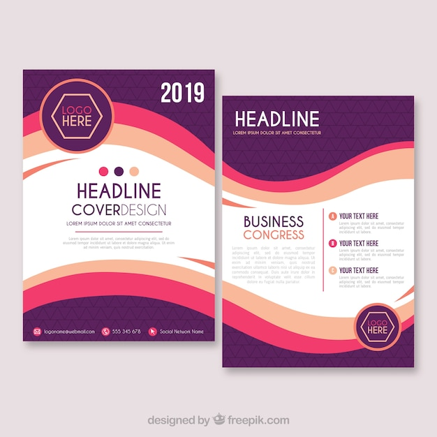 Business brochure template in size a5 Vector Free Download
