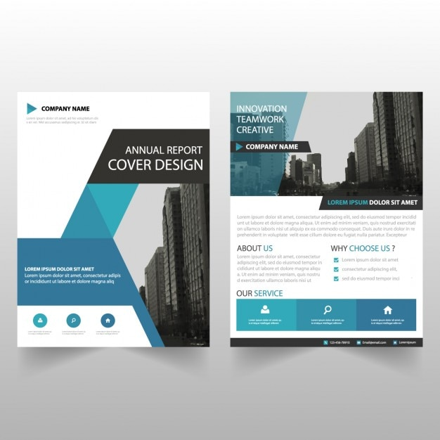 Business brochure template with geometric shapes Vector Free Download - Product Brochure Template