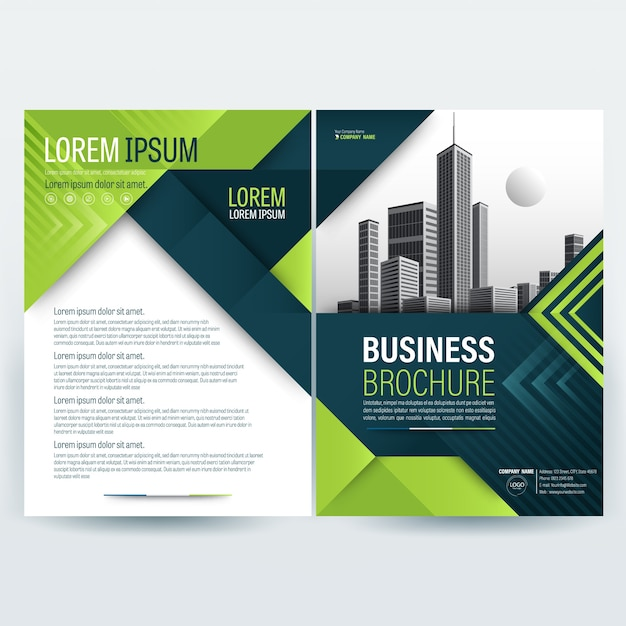 Business brochure template with green geometric shapes Vector Free