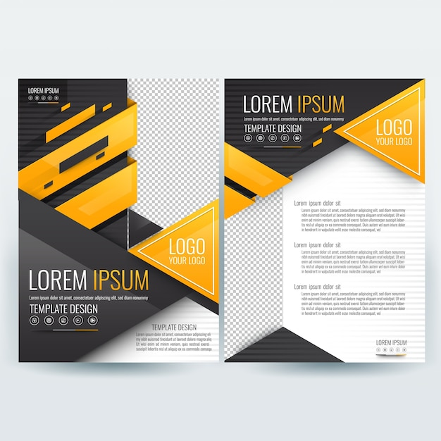 Business brochure template with Orange and Black Geometric Triangle - black flyer template