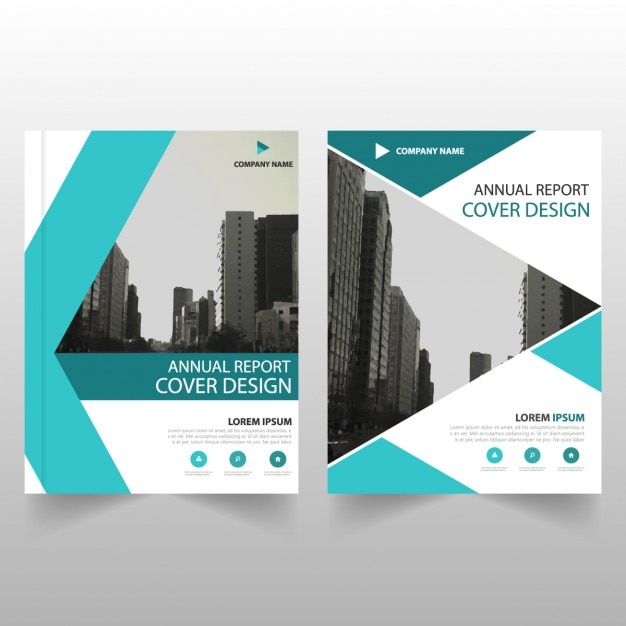 Business brochure template with turquoise geometric shapes Vector - architecture brochure template
