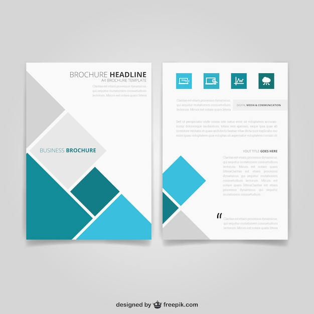 Business brochure with squares Vector Free Download - business pamphlet templates free