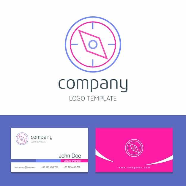 Business card design with compass company logo vector Vector Free