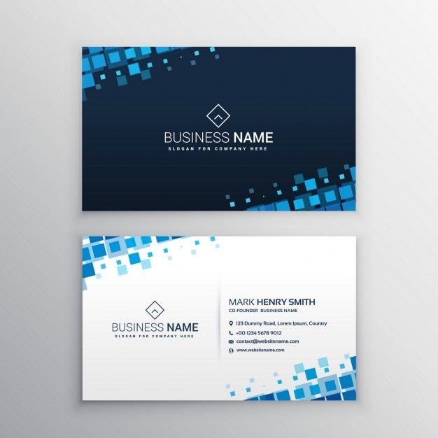 Business card with blue squares Vector Free Download - card